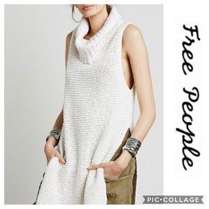 Free People White Horses Mockneck Tunic Sweater S